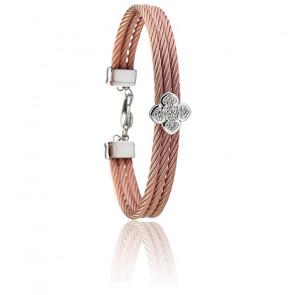 Bracelet La FLeur Topazes Blanches,  Argent & Acier PVD Or Rose