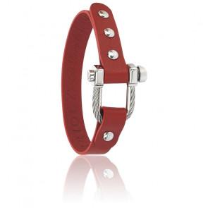 Bracelet Pont D'Amour, Cuir Rouge & Acier