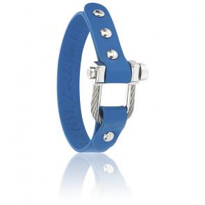 Bracelet Pont D'Amour , Cuir Bleu & Acier
