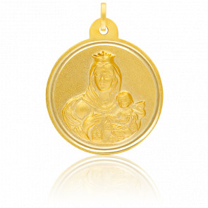 Médaille Scapulaire Vierge & Christ Or Jaune 18K