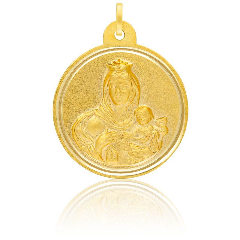 Médaille Scapulaire Vierge & Christ Or Jaune 18K