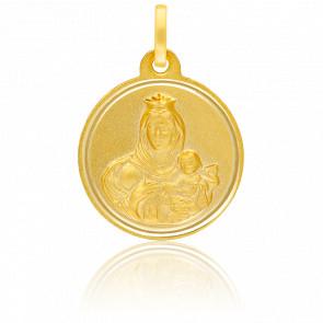 Médaille Sainte Vierge Mont Carmel Or Jaune 18K