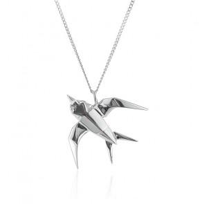 Sautoir Hirondelle Origami Argent