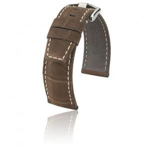 Bracelet Tritone Alligator Nubuck Brun mat / Blanc - Entrecorne 24 mm - Chute 22 mm