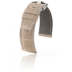 Bracelet Tritone Alligator Nubuck Beige Mat / Blanc - Entrecorne 22 mm - Chute 20 mm