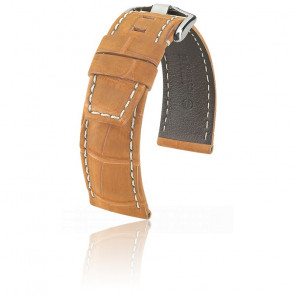 Bracelet Tritone Alligator Nubuck Brun or mat / Blanc - Entrecorne 22 mm - Chute 20 mm