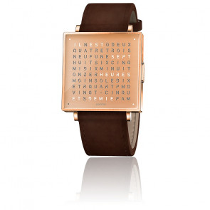 Montre Qlocktwo W35 Copper Leather Vintage Brown