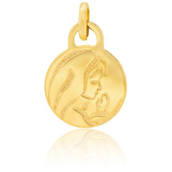 Médaille Ronde Vierge Or Jaune 18K
