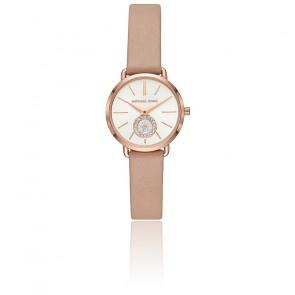 Montre Portia ton or rose bracelet cuir MK2752