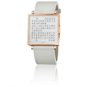 Montre Qlocktwo W35 Rose White French grain leather strap