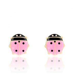 Boucles d'Oreilles Coccinelles Roses Or Jaune 9K