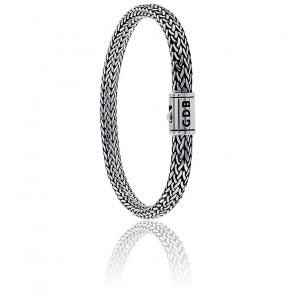 Bracelet Maille Tressée Serpent Argent