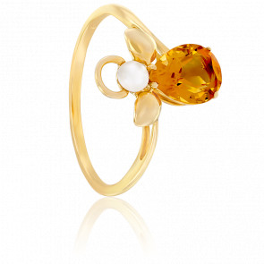 Bague Mon Ange Citrine Orange, Perle & Or Jaune 18K
