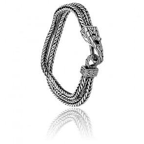 Bracelet Double Maille Serpent Carrée Argent