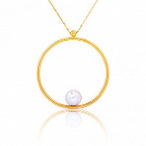 Collier Perle & Cercle Vertueux 30 mm Or Jaune 18K