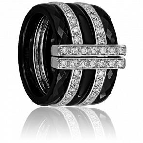 Bague Noire Multi-Facettes Diamants 0.52 ct