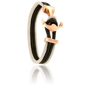 Bracelet Ancre Yacht Club PVD Rosé, Double Cordon Beige & Kaki