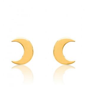 Boucles d'Oreilles Lune Plaqué Or Jaune