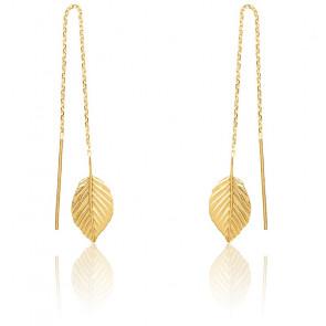 Boucles d'oreilles pendantes, feuille suspendue, plaqué or jaune