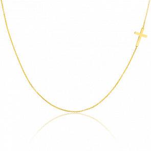 Collier Croix Simple Or Jaune 18K