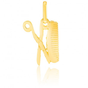 Pendentif ciseaux & peigne or jaune