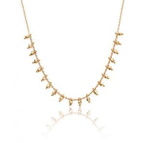 Collier Perles Facettées Plaqué Or Jaune