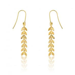 Boucles d'oreilles pendantes, feuille de laurier, plaqué or jaune