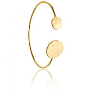 Bracelet Jonc Cercle Asymétrique Plaqué Or Jaune