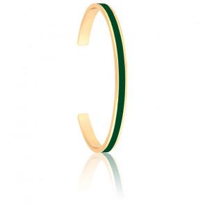 Bracelet Jonc Bangle Vert Loup Plaqué Or Jaune
