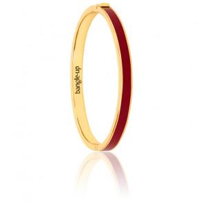 Bracelet Bangle Rouge Obscur Plaqué Or Jaune