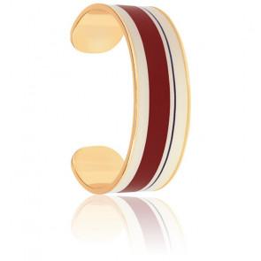 Bracelet Jonc Zef Blanc Sable & Rouge Obscur Plaqué Or Jaune
