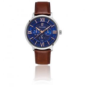 Montre cadran bleu / cuir marron 253C164