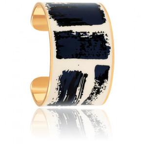 Bracelet Brush Bleu Nuit & Banc Sable Plaqué Or Jaune