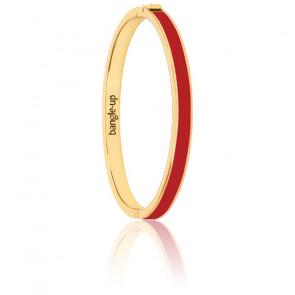 Bracelet Bangle Rouge Velours Plaqué Or Jaune