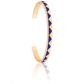 Bracelet Jonc Bollystud Bleu Faïence Plaqué Or Jaune