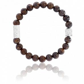 Bracelet Bronzite & Buddha Argenté