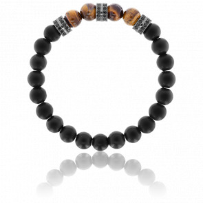 Bracelet Exclusive Pierres Marron, Noirs &  Zircons Noirs