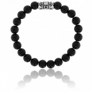 Bracelet Exclusive Orient  Noir, Argenté & Zircons Noirs