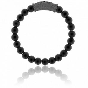 Bracelet Exclusive Fleurs de Lys Noire  et Zircon Noir