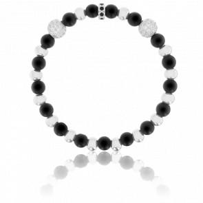 Bracelet Exclusive Divinatoire Agates Noires, Zircons Noirs Blancs & Acier