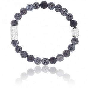 Bracelet Agate Noire Craquelée & Buddha Argenté