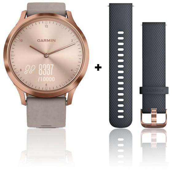 Montre Vivomove HR Premium Rose Gold avec bracelet en daim gris  010-01850-09