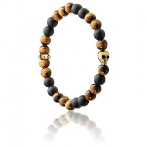 Bracelet Tête de Mort Marron, Oeil de Tigre Marron & Obsidienne, A1509-881-2