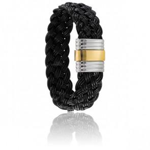 Bracelet 202 Cuir Tressé Noir, Acier & Or Jaune 18K