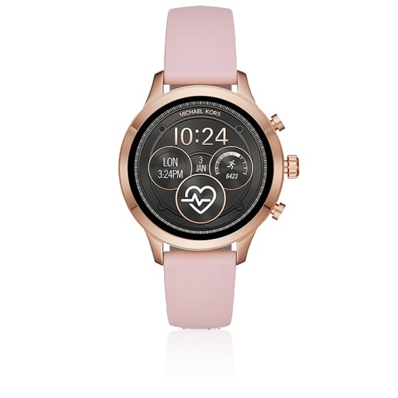 Montre connectée Runway ton or rose silicone MKT5048