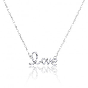 "Collier ""Love"" Diamants & Or Blanc 18K"