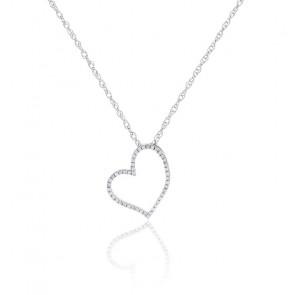 Collier Coeur Diamants & Or Blanc 18K