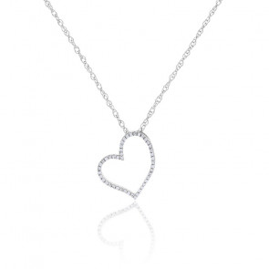 Collier Coeur Diamants & Or Blanc 18K