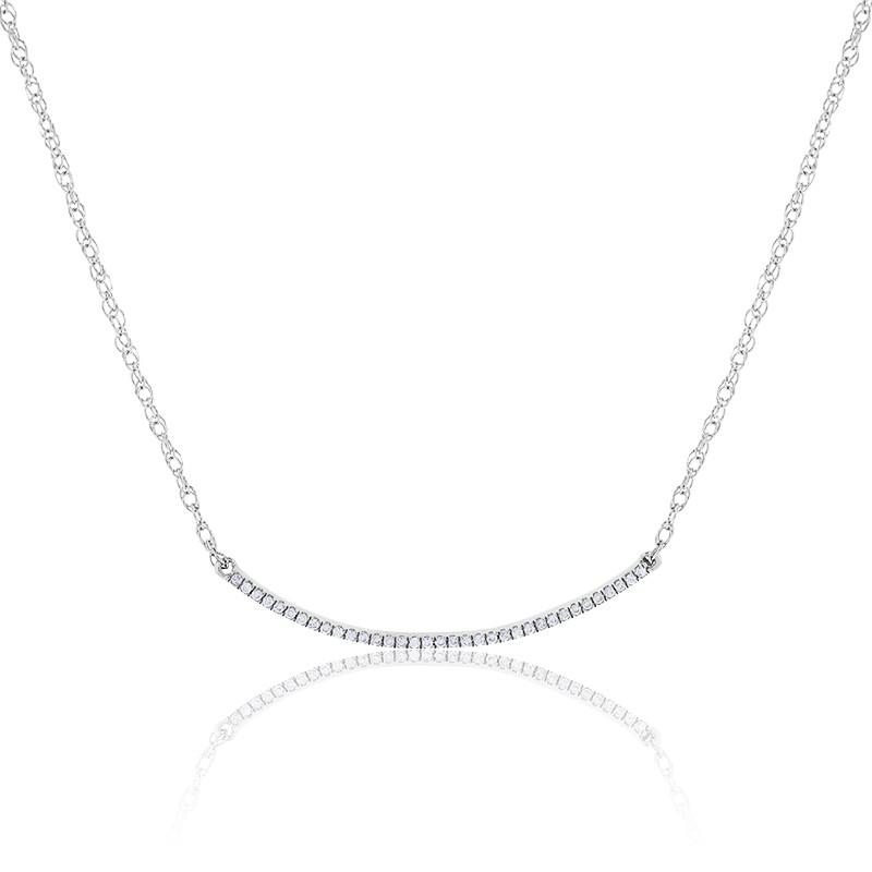 Collier Barrette Diamants & Or Blanc 18K