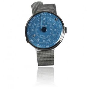 KLOK-01-D7 - Cadran Bleu - Bracelet Métal